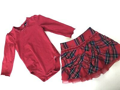 Childrens Place Red Plaid Skirt Bodysuit Outfit Dressy Fancy Holiday 18 Months