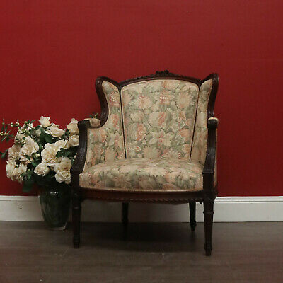 Antique Ladies Chair, Bedroom Armchair, French, Rosewood, Wing Back Seat, Chair