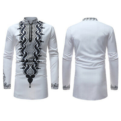 Men Shirt Blouse Slim Fit Retro African Style Tops Traditional Stand Collar Tee