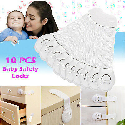 10x Baby Kid Child Cupboard Cabinet Safety Locks Pet Proofing Door Drawer Fridge