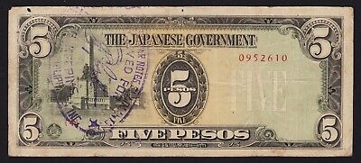 Japan Philippines Occupation WWII Banknote 5 Pesos 1943 P-110a