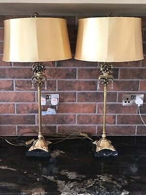 Pair of Antique Solid Brass and Marble French Rococo Style Lamps & Shades 32""