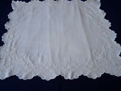 Antique Vintage Hand Embroidery Mountmellick Table Cloth White
