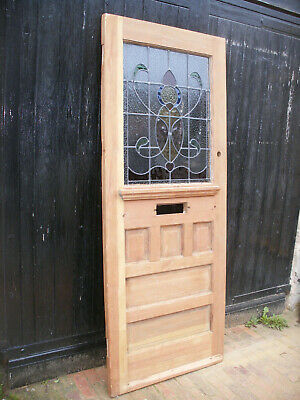 Reclaimed Edwardian / art nouveau pitch pine, stained glass front door