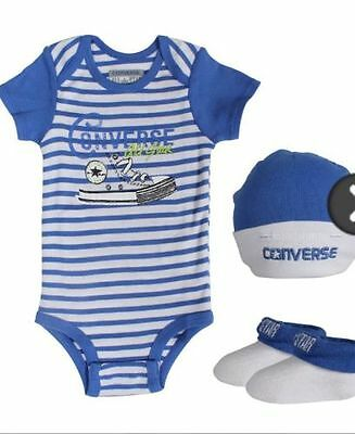 Converse Baby Boy 3 piece Set Gift Packed Body Hat Socks NEW