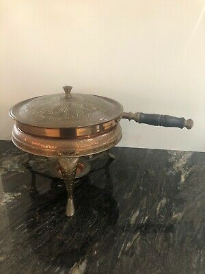 Vintage Chaffing Copper Brass Fondue Frying Pan Chafing Dish amazing Decoration