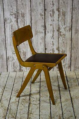 Vintage Industrial School Stacking Plywood Cafe Bar Kitchen Dining Chairs 22 AVA
