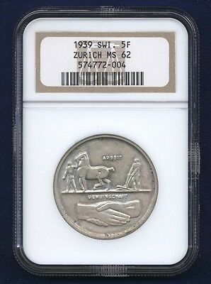 Switzerland Zurich  1939  5 Francs Silver Coin Uncirculated Certified Ngc Ms62