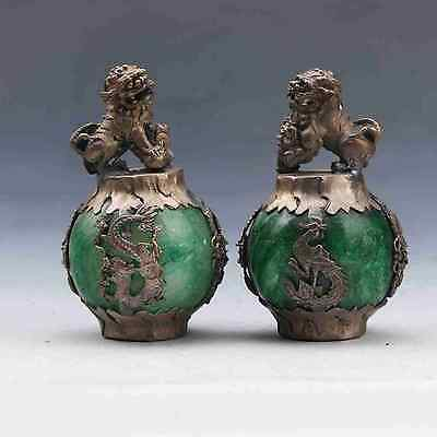 Chinese Old Silver Dragon Inlaid Green Jade Hand Carved Pair Lion Statue