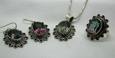 VIntage Silver And Mystic Topaz Matching Pendant, Earrings And Ring Set