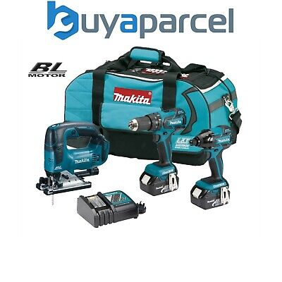 Makita 18v Brushless 3pc Kit DHP459 Combi Drill, DTD129 Driver + DJV182 Jigsaw
