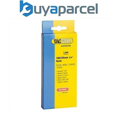 """Tacwise 180 Series Nails 20mm (3/4"""") Galvanised Box Of 1000 Brads Nail 0360"""