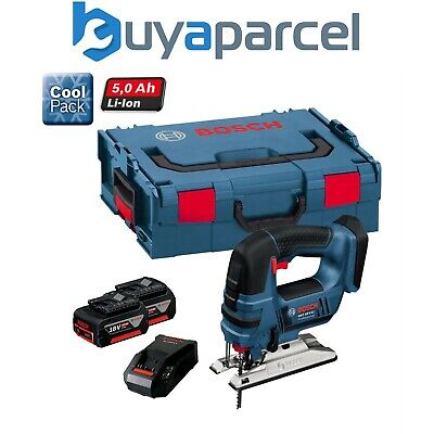 Bosch GST 18VLI 18v Jigsaw Lithium-Ion with 2 x 5.0ah Battery, Charger + L-BOXX