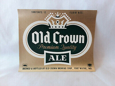 Antique vintage OLD CROWN ALE Beer bottle label Fort Wayne, Indiana unused