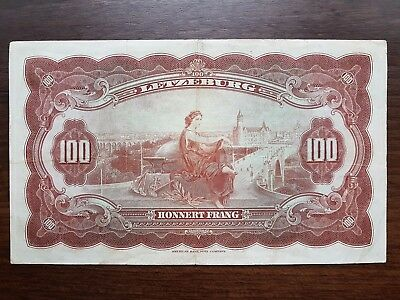Luxembourg 100 francs 1944 banknote