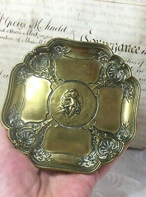 Antique Bronze F Barbedienne Lobed Dish Late 19th Century Cupid Ornate Heavy337g