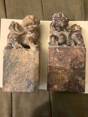 "Pair Of Beautiful Antique Hand Carved Soapstone Foo Dogs 6.5"" 6Lb"