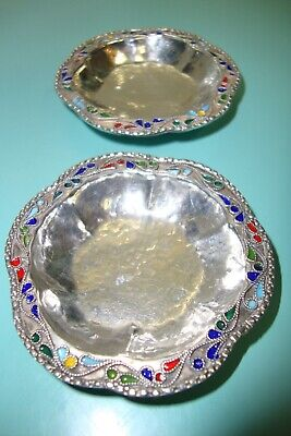 2pc Pure Solid Sterling silver 1000 /1000 Guilloche Enamel Champleve salt bowls