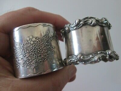 2  Antique ART NOUVEAU  - STERLING - NAPKIN RINGS w/ WIDE BANDS  non - matching