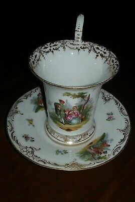 Antique Dresden Hand-Painted Gilded Gold Floral/Figural Cup and Saucer - NICE!