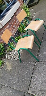 2 Vintage Mid Century Stacking School Chairs - Ideal Cafe Bar Kitchen Dining