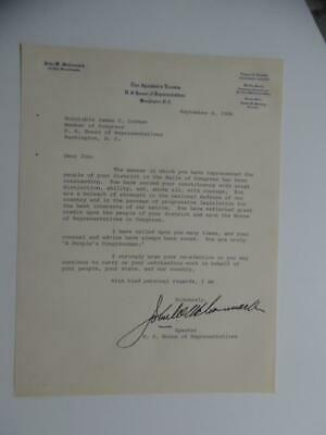 1968 Speaker of the House John W McCormack Autograph Letter Signed ALS Congress