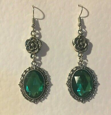 VICTORIAN STYLE -DIAMOND ROSE - MID GREEN SILVER PLATED DROP EARRINGS hook DR