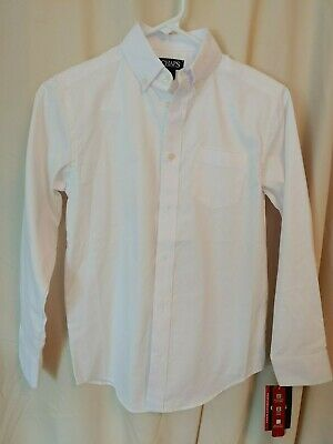 CHAPS ~ RALPH LAUREN boys white oxford button up shirt l/s UNIFORM NWT SZ 10 BTS