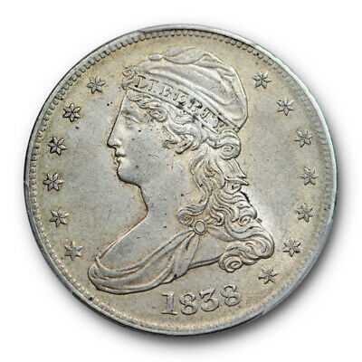 1838 50C Reeded Edge Capped Bust Half Dollar PCGS AU 55 About Uncirculated CA...