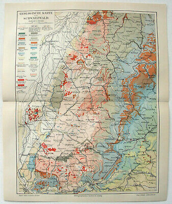 Black Forest Germany: Original 1908 Geological Map by Meyers. Schwarzwald