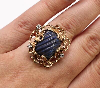 Size 6.5 Vintage Ladys 14kt Yellow Gold Biomorphic Carved Lapis & Diamond Ring