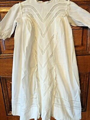 Vintage Antique White Cotton Infant Baby Baptism Christening  Church GOWN DRESS