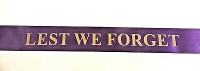 Lest We Forget Satin Ribbon 45mm wide for Wreaths/Memorials - Gold Foil Printed