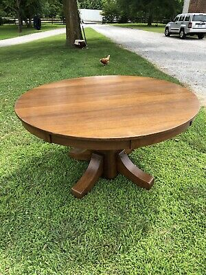 Antique Mission Arts & Crafts Round Oak Dining Table – Stickley Brothers - 54""