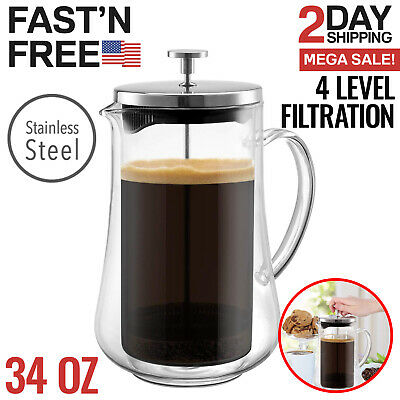 French Press Coffee Maker Tea Pot Plunger Glass Stainless Steel Large Cups