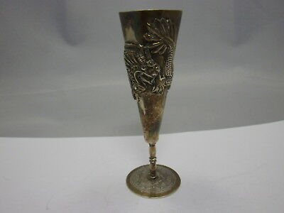 Antique chinese export silver cup / Becher China Silber #1 Drache / Dragon