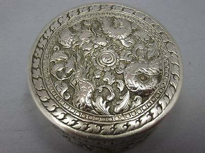 antique japanese or chinese export silver box with dragon