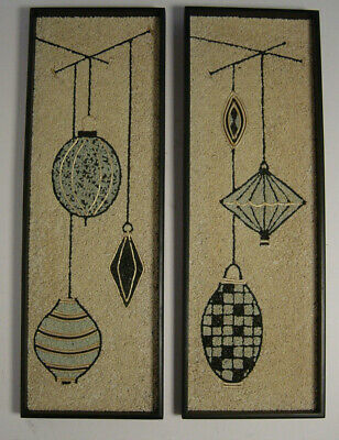 2 Pebble Gravel Wall Art Panel Hanging Picture Wood Frame Vtg MCM Mosaic Mobile