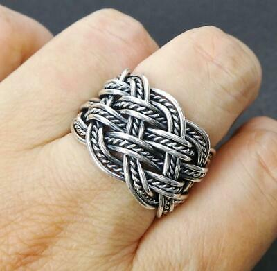 925 Sterling Silver Hand Woven Braided Adjustable Open Wide Ring Mens Unisex