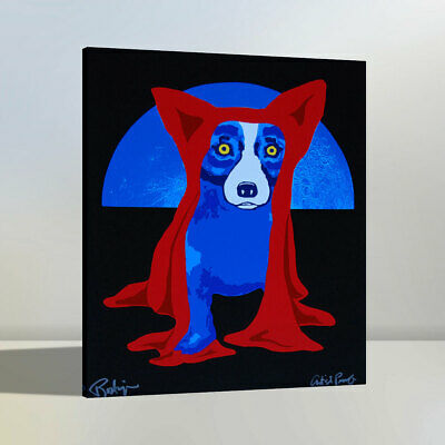 Blue Dog Home Wall Decor Animals Art Oil Painting Print on Canvas 24x30