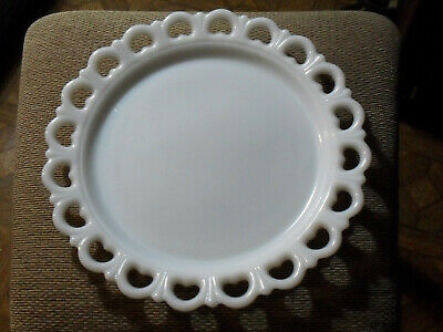Vintage Milk Glass Cake Plate Serving Tray Round Lace Edges EXC Large