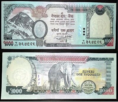1000 Rupees Nepal Currency Printing Mt. Everest obverse Elephant NEW UNC