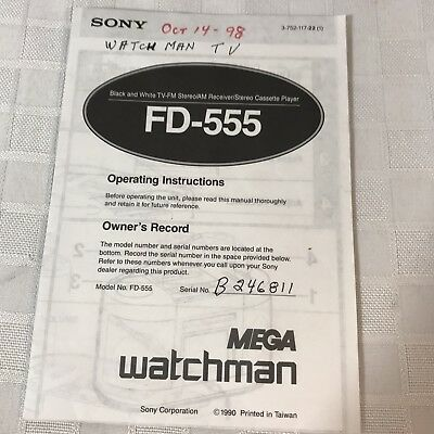 Sony Mega Watchman FD-555 Operating Instructions