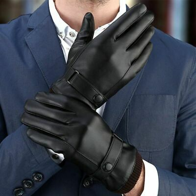 Men's Touch Screen Winter Warm Leather Windproof Driving Fleece Lined Gloves AU