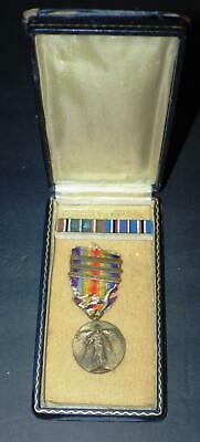 WWII WW2 US MILITARY VICTORY MEDAL PIN w/3 BARS + 2 STAR RIBBON BAR: WOODEN CASE