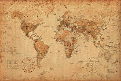 Poster World Map Antique Style