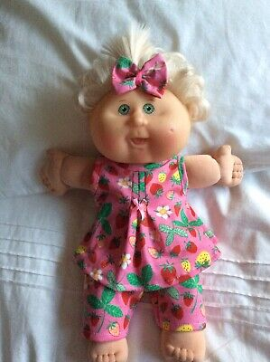 """DOLLS CLOTHES fit 14"""" CABBAGE PATCH DOLL - 3 Piece Set : Pink /strawberries"""