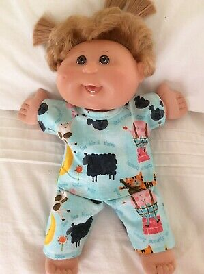 """DOLLS CLOTHES fit 14"""" CABBAGE PATCH DOLL - Pyjamas. Mint Nursery Rhyme Print"""