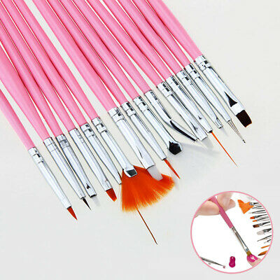 15PC Professional Nail Art Gel Painting Drawing Brushes Acrylic Flat Brush Kit