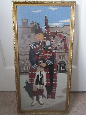 Large Scottish Piper Tapestry Embroidery Framed Castle Bagpipes Scotland